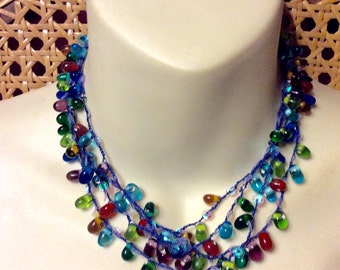 Vintage hand made glass beads multi strand necklace.
