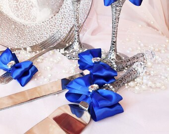 Royal Blue Cake Serving Set, Wedding Cake and Knife Serving Set, Wedding cake Cutter, Wedding Cake Accessories, Bridal shower