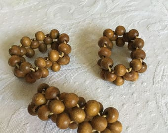 Solid Wood Beads Napkin Ring/Holders-Table Decoration-3 Pieces