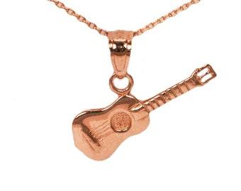14k Rose Gold Guitar Necklace