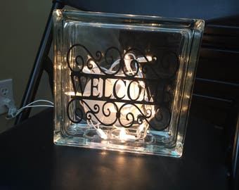 Welcome Glass Block with Lights