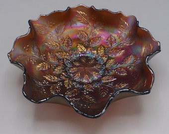Vintage Amethyst Holly by Fenton Carnival Glass Bowl Ruffled Edges