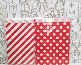 Red Treat Bags - Set of 25 - Red Stripe Treat Bags - Red Polka Dot Treat Bags - Paper Treat Bags - Party Favor