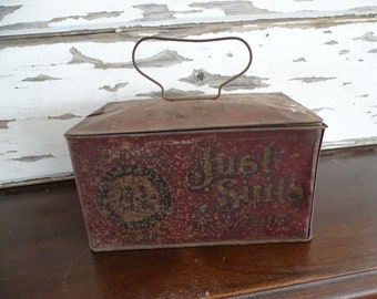 Antique Tobacco Tin Buchanan & Lyall, Late 1800's Metal Tobacco Box, Just Suits Smoking and Chewing Cut Plug Container, Rusty Crusty Patina