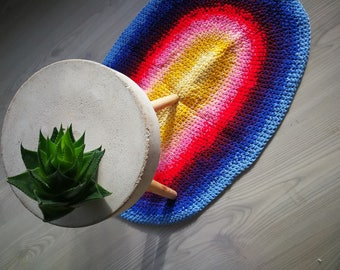 Crochet rug, recycled materials