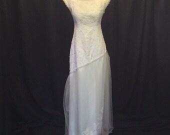 Ooak Refashioned Upcycled Vintage ivory Sleeveless Scoop Neck Wedding Dress, Size 0 Vintage Wedding Dress