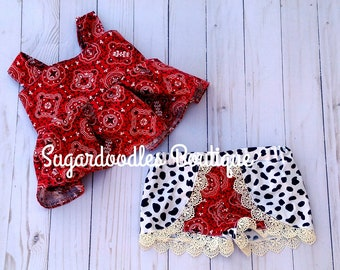 Cowgirl cow print and bandana Set Size 6 months