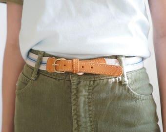 Vintage Clothing / Blue Striped Leather Belt with Gold Buckle / Vintage Belt / 80s Belt / Vintage Brown Leather Belt / Women's Belt /