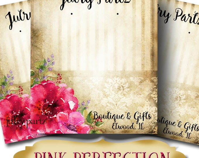PINK PERFECTION•Custom Tags•Labels•Earring Display•Clothing Tags•Custom •Boutique Card•Tags•Custom Tags•Custom Labels