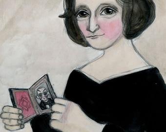 Mary Shelley, Literary Art Print, Literary Portrait, Art Print, Victorian Writer (6x8) Frankenstein Art, Goth Decor, Classic Monster