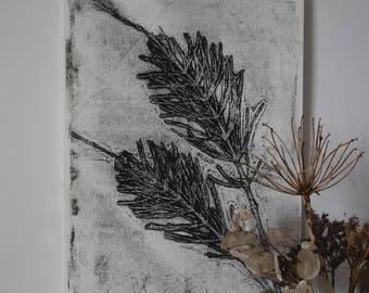 Botanical mono print (ghost print): Equisetum