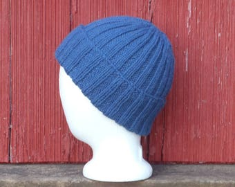 Blue wool watch cap, hand knit warm winter beanie mens, wool winter cap, wool hat mens wool skull cap wool rib knit hat gift for him, /ready