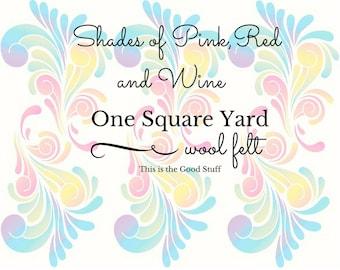 Pink Wool Felt, Red Yardage, Pure Merino, 100 Percent Wool, Felt Fabric, Choose Color, Doll Making, Felt Flowers, Applique, DIY Felt Crafts