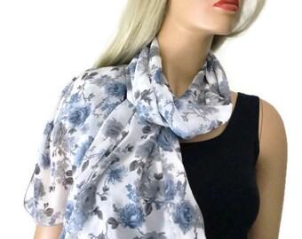 French roses extra  Long chiffon scarf- Blue and white Parisian Neck Tissu
