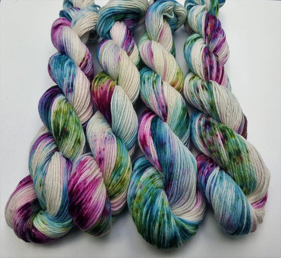 Enchanted- 100 Cotton, Hand Dyed, Variegated, Speckled, Hand Painted Yarn