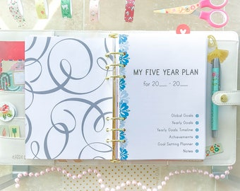 5 YEAR Plan Half Size Printable Filofax inserts Health Relationships Business Self development Five Years Planning Instant download 24 PAGES