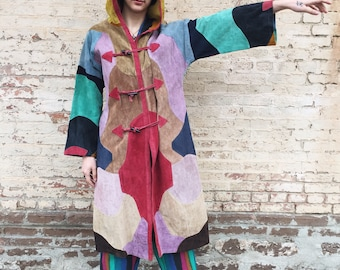 Psychedelic 70's Multi Colored Patchwork Suede Jacket With Hood SMALL