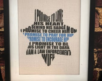 Police Wife Canvas Print Rustic Home Decor Wife of a Police Officer Thin Blue Line LEO Wife Law Enforcement Wife Police Officer Print Burlap