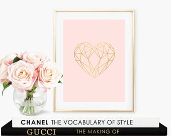 Geometric Heart- Baby Girl Nursery - Blush Pink with Faux Gold Foil Wall Art- Instant Digital Download