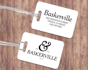 Luggage Tag Pair - Custom Metal Luggage Tag - Personalized Luggage Tag - Travel Tag - Baby Bag Tag - Travel Accessory - Wedding Gift