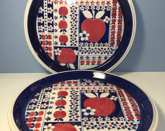 """Mikasa Calico 10 5/8"""" Blue Red Apple Floral Platter Dinner Plate-3 available"""