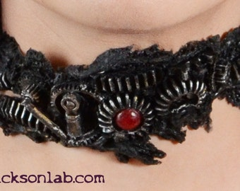 Steampunk  Zombie Gear Choker - Black and metalic  Tone -  Gothic Horror Slit throat Cyberpunk Jewelry