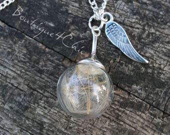 Little dandelion and wing drop necklace, real dandelion, romantic, gift for her