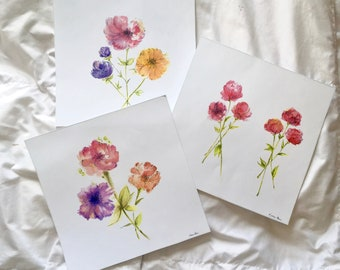 Set of 3 Sunset toned watercolor floral stems