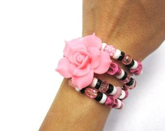 Pink Black Sugar Skull Bracelet Day of the Dead Jewelry