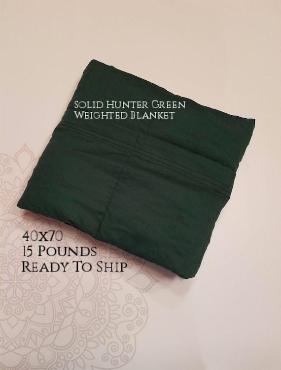 READY to SHIP, Weighted Blanket, 40x70-15 Pounds, Hunter Green Cotton Front, Hunter Green Cotton Back, Sensory Blanket, Calming Blanket,