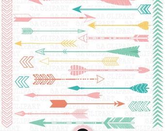 """Arrows ClipArt """"ARROW CLIPART""""pack,Archery,Tribal Archery,Arrow Clipart,Arrow Doodles,Wedding invitation,Color Arrow,Instant Download Trb003"""