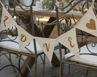 Nursery Bunting, Wedding Bunting, Wedding Photo Prop, Love Bunting, Baby Shower, Ivory Gold Garland, Nursery Decor, Wedding Decor
