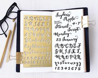 Metal stencil etsy planner stencil bullet journal stencil script alphabet stencil script letter stencil fits a5 journal midori regular script l spiritdancerdesigns Choice Image