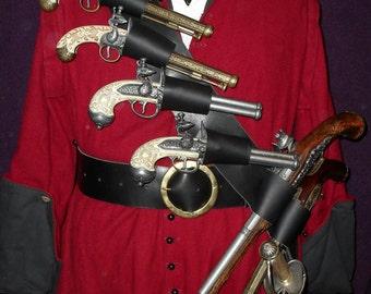 Blackbeard Pirate six pistol and sword baldric