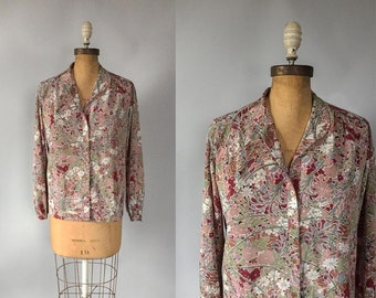 Vintage 1970s dusty floral silky button down blouse / 70s 80s blouse / medium m