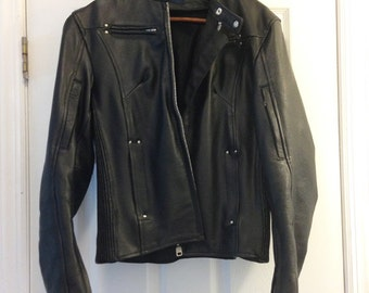 SALE: Leather biker jacket, black, size S women's