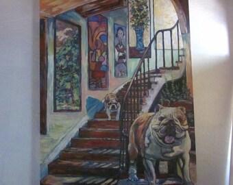 English Bulldogs in Foyer
