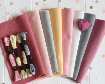 Felt and Thread Stashbooster Pack, Pack of Craft Felt with Embroidery Thread, Felt Craft Pack, Pack of Felt Squares 23cm - Fancy Flamingo