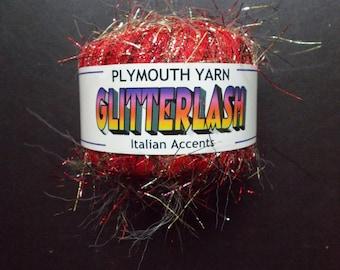 Plymouth Yarn Glitterlash Italian Accents  deep red with gold metallic NOS
