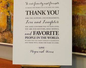 "Custom Wedding Thank You Sign - WHITE - 8"" x 10"""