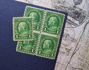 Ten 1c Benjamin Franklin .. Vintage Unused US Postage Stamp .. American History, Colonial America