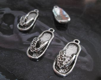 set of 10 charms silver tongues 24 x 10 mm
