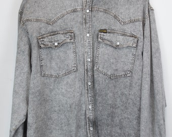 Vintage jeans shirt 90s - denim - long sleeves - oversized - grey