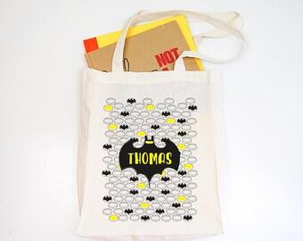 Batman Personalised Boys Library Tote Bag