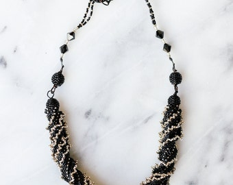 black and silver spiral statement necklace // beaded spiral