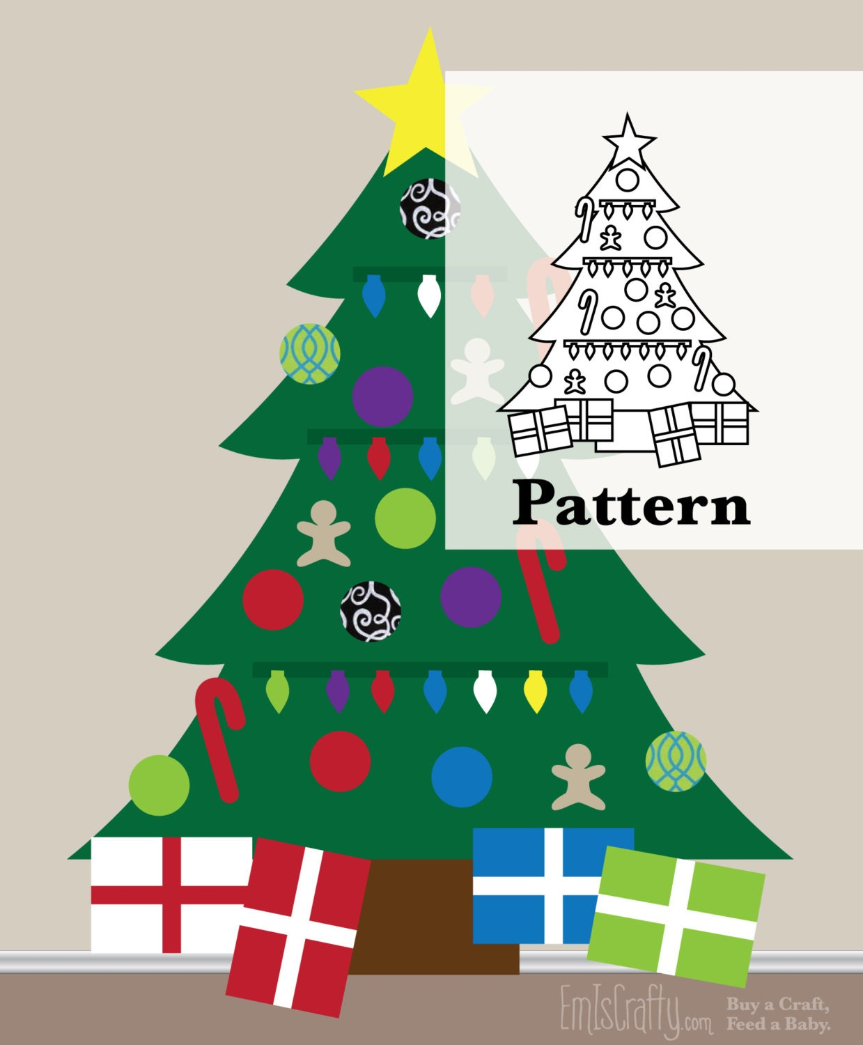 Command Strips Christmas Tree: DIY Pattern For Christmas Felt Tree Kids Wall Activity