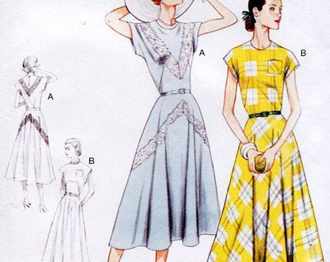 FREE US SHIP Vogue 8811 Vintage Retro 1940's 40's Cap Sleeve V Back Dress  Reproduction Old Store Stock Size 4/12  Sewing Pattern