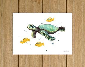 "Sea Turtle, Turtle, Ocean, Giclée Print, Watercolor Illustration, Home Decor, Kids Room, Nursery Decor, A5, 8.5""x11"", A4, A3, 13""x19"""