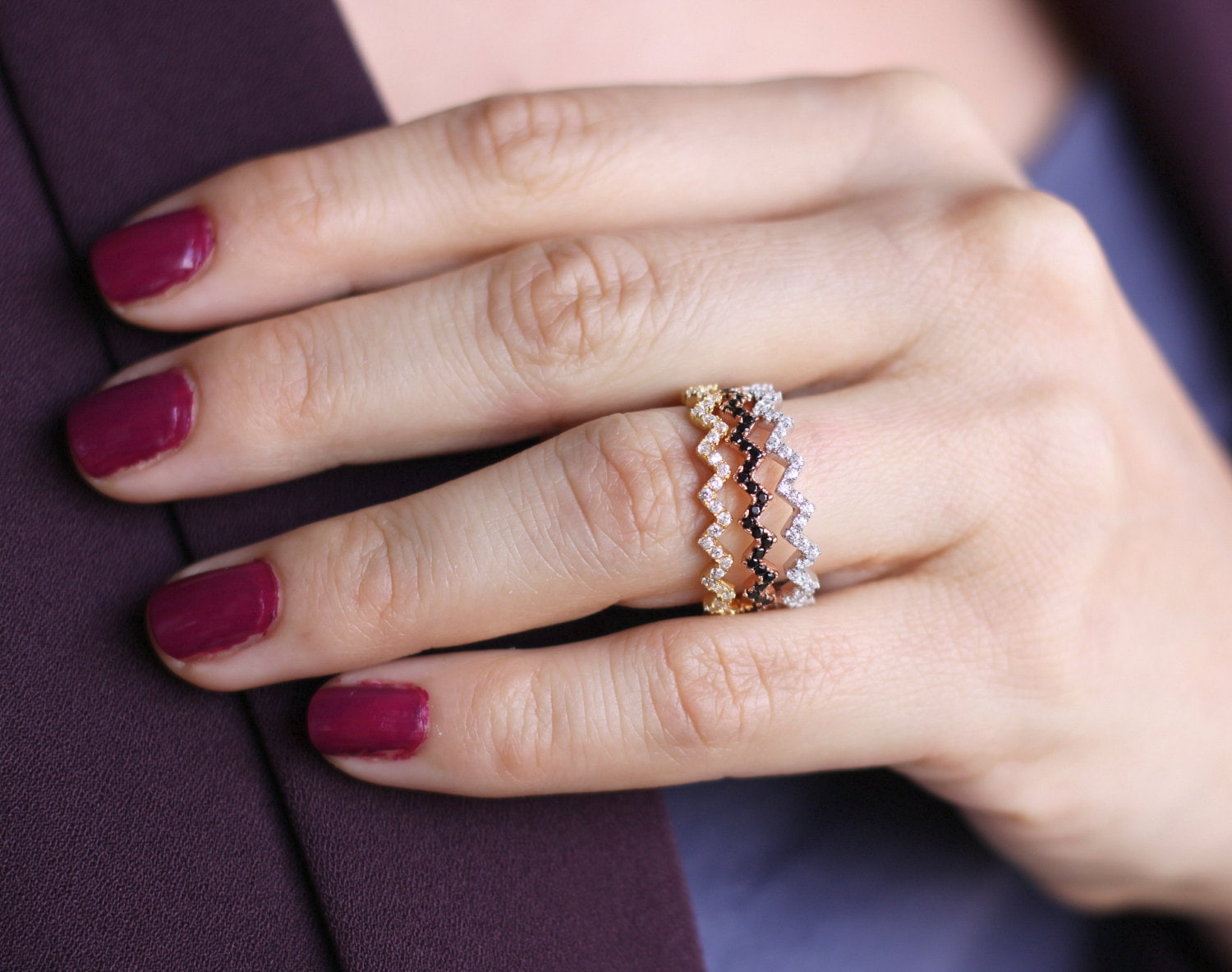 Stackable Gold Zig Zag Ring / Silver Zig Zag Ring with CZ /