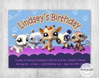 Littlest Pet Shop Birthday Invitation - Printable Digital File